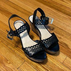 Franco Sarto cork wedge sandals in black